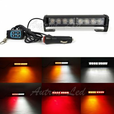 9 8w Led Emergency Warning Tricolor Dash Remote Control Grill Strobe Light Bar