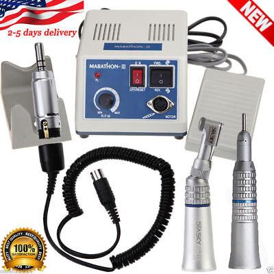 Dental Lab Marathon Micro Motor 35k Rpm N3 Straight Contra Angle Handpiece Us