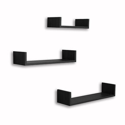 Set of 3 Floating U Shelves in Black Finish