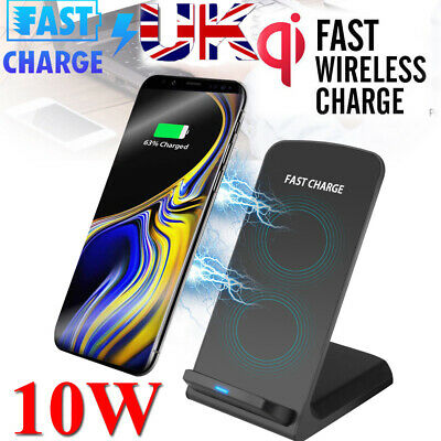 10W Wireless Charger Qi Fast Charging Phone Holder Dock For iPhone 8 XS Samsung
