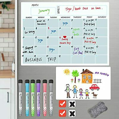 Magnetic Dry Erase Calendar Set Fridge 2 Boards - Monthly Planner 16.5x12 Amp