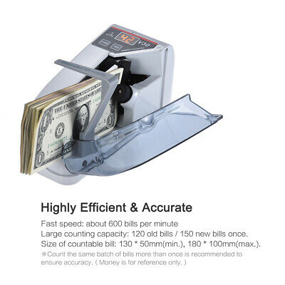 600pcsmin Bill Cash Banknote Counter Money Currency Counting Ac Machine I9x2
