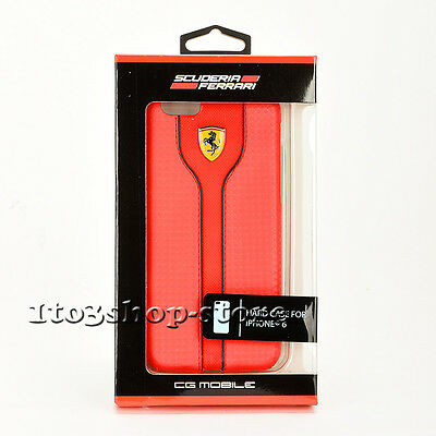 Ferrari Signature Leather Hard Shell Fashion Case Cover iPhone 6 & iPhone 6s Red