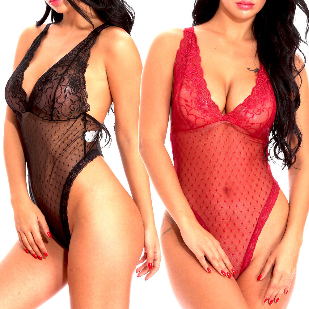Woemn Sexy See Through Lingerie Lace Babydoll One Piece Bodysuit Sleepwear US Clothing, Shoes & Accessories