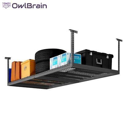 (Garage Ceiling Overhead Storage Hanging Shelf Rack Shop Shelving Organization)