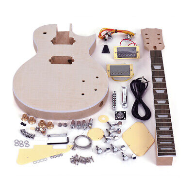 Unfinished LP Style Electric Guitar DIY Kit Top-Solid Mahogany Neck Body Z3P0