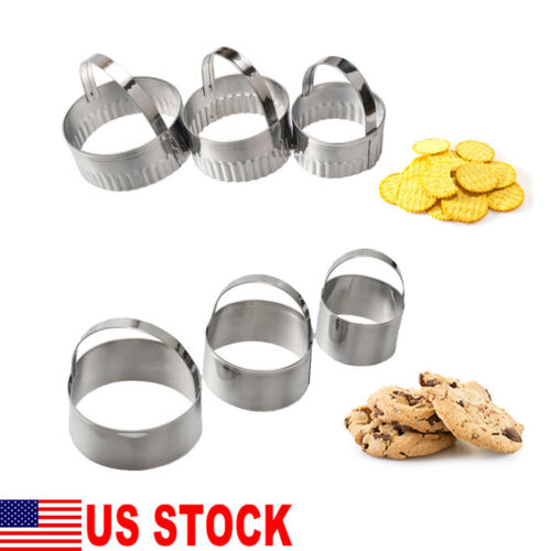 3PCS Stainless Steel Round Scallop Cookie Biscuit Cutter Fon