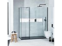 Walk-in L-Shaped Shower Screen, Verona Aquaglass+ - 800mm Wide, 8mm Glass