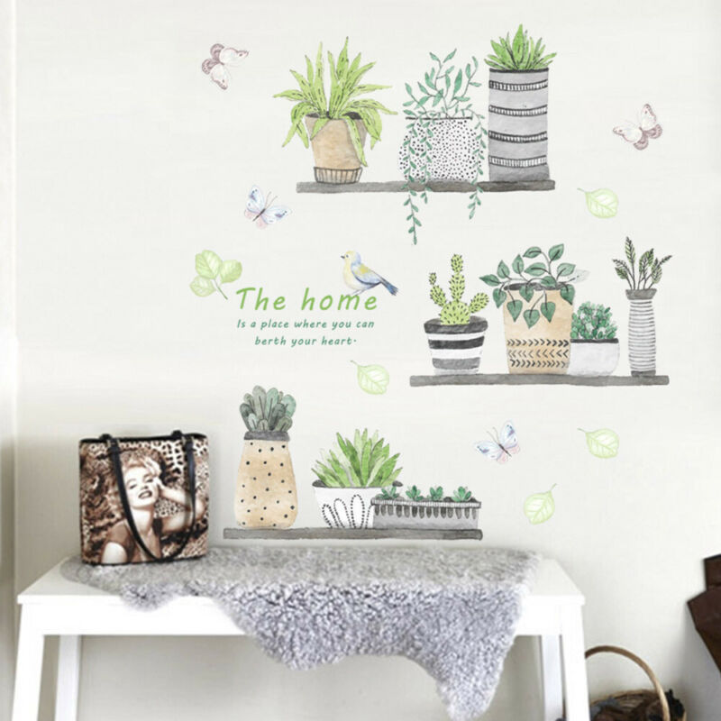 Home Decoration - Removable Wall Garden Plant Flower Stickers Kitchen Bedroom Home Art Decal Decor