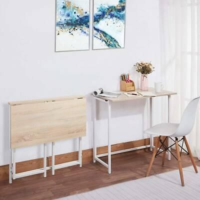 Folding omputer Desk Foldable PC Gaming Dressing Table Wood & Metal Workstation
