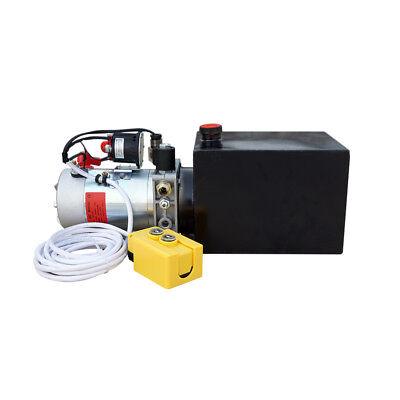 1600w 12v 6 Quart Single Acting Hydraulic Power Pump Unit Cylinder Dump Trailer