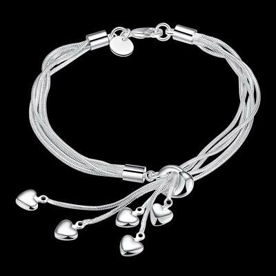 Women's Fashion 925 Sterling Silver Bracelet Chain Love Charm Adjustable 7.8""