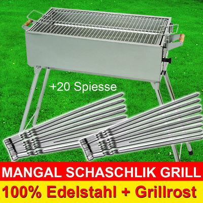 MANGAL + 20 Spieße - Schaschlik GRILL aus Edelstahl mit Grillrost Мангал