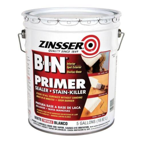 Zinsser B-I-N Primer & Sealer, Ultimate Stain Blocker, 5 Gallon, White, 0900