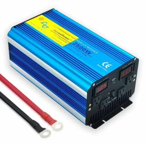 2500w / 5000w pure sine wave power inverter 12v DC to 110v 120v AC converter LED