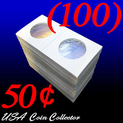 (100) Half Dollar Size 2x2 Mylar Cardboard Coin Flips for Storage | 50 Cents (Half Dollar Coin Holder)
