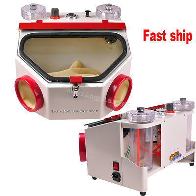 Dental Lab Equipment Double Pen Fine Sandblaster Unit Clinic Dentist 220v110v