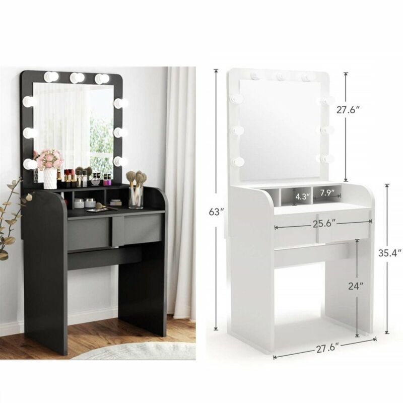 Tribesigns Dressing Vanity Table Set Makeup Lighted Desk with Mirror and Drawer