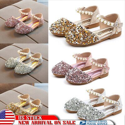 US Girls Kids Dress Shoes Flat Pumps Glitter Party Mary Jane sequin Sandals Size