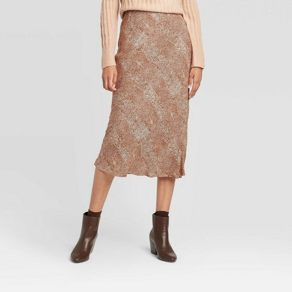 Women's Snakeskin Mid-Rise Midi Slip Skirt – A New Day Brown XXL Clothing, Shoes & Accessories