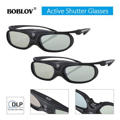 2PCS 3D Active Shutter Glasses DLP-Link Home Theater Black For Optoma BenQ
