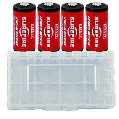 4x Surefire CR123A Lithium Batteries 3 Volts EXP. 11/2027 *MADE IN USA* + Case