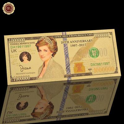 WR Princess Diana Million Dollar Bill 20 Anniversary 24K Gold Banknote Souvenir
