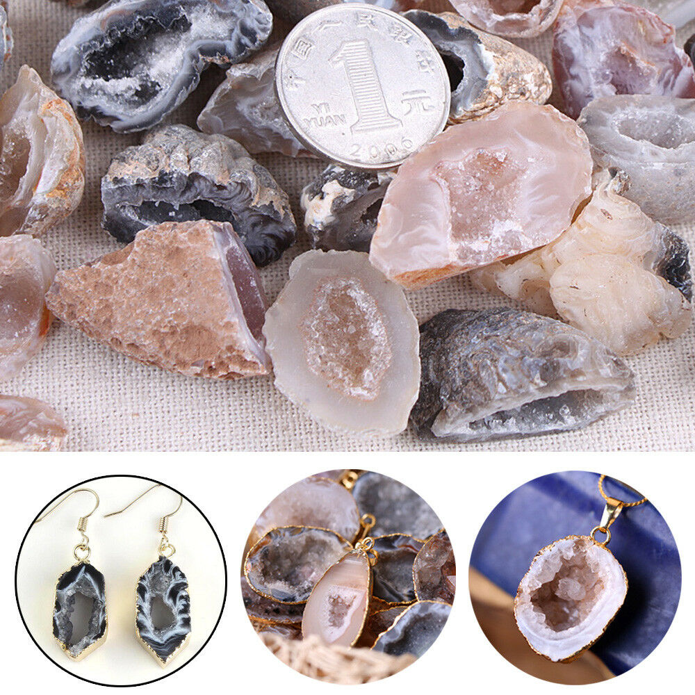 Agate Geodes Collection Raw Stones Lucky Crystals Halves Healing Grade Acessory