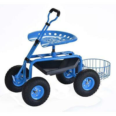 Blue Outdoor Garden Swivel Seat Rolling Wheels Weeding Chair Planting Yard Lawn