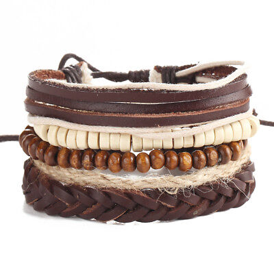 5pcs Leather Bracelets for Men Women Wooden Beaded Bangle Braided Cuff Wristband - Wooden Bangles