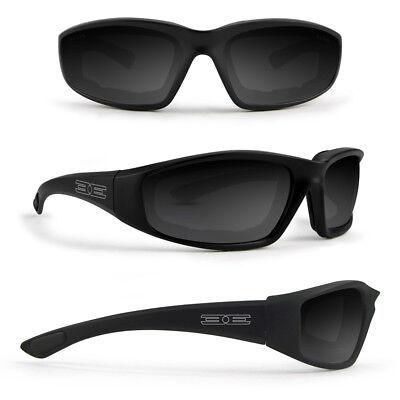 Epoch Motorcycle Glasses Photochromic Super Dark Lens Foam Padded Black Frame (Super Glasses)