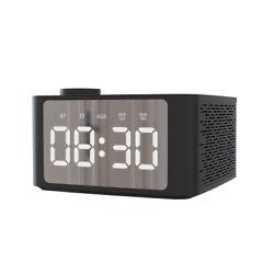 Bluetooth Speaker LED Digital Alarm Clock Mirror Portable Wireless MP3 FM Radio