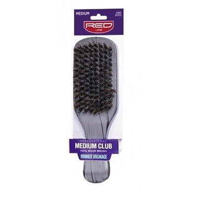 Red by Kiss Medium Club 100% Boar Bristle Brush Minimize Breakage Hair #BOR10 100% Boar Club Brush