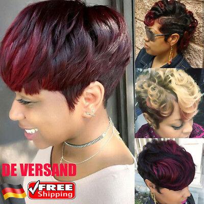 Damen Ombre Haar Perücken Kurz Gelockt Curly Haarperücke Mode Wig Cosplay Partei