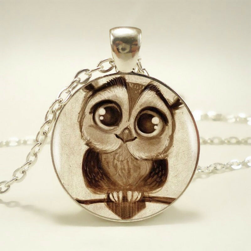 Cute Owl Pendant Choker Silver Necklace For Women Accessorie