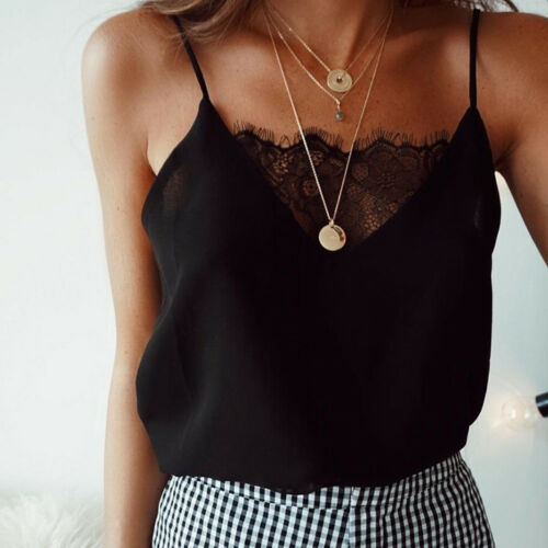 Womens Lace Crop Top Sexy Vest Fashion Camisole Sleeveless Tank Top  T-Shirt