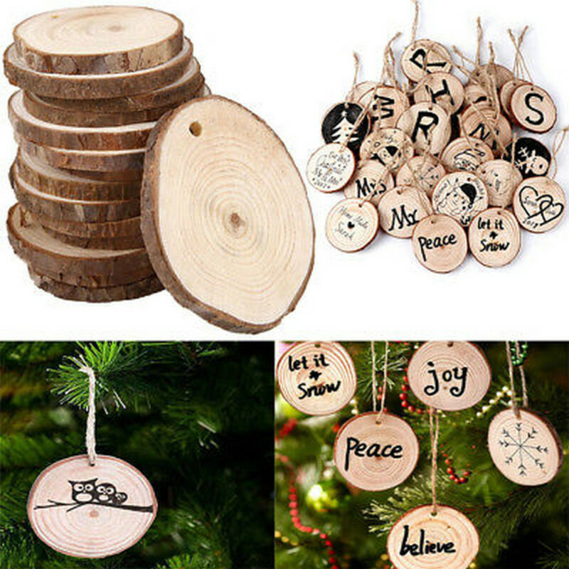 10PC Natural Wood Slice Christmas Tree Ornament Hanging DIY Decor Craft Gift Tag