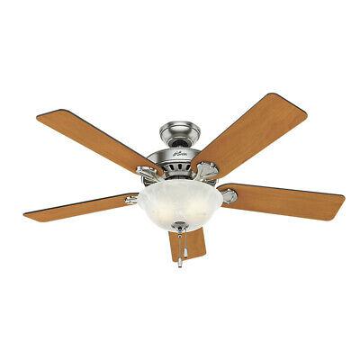 Hunter 52 in. Pro's Best 5 Min. Fan Nickel Ceiling Fan w/ Light 53249