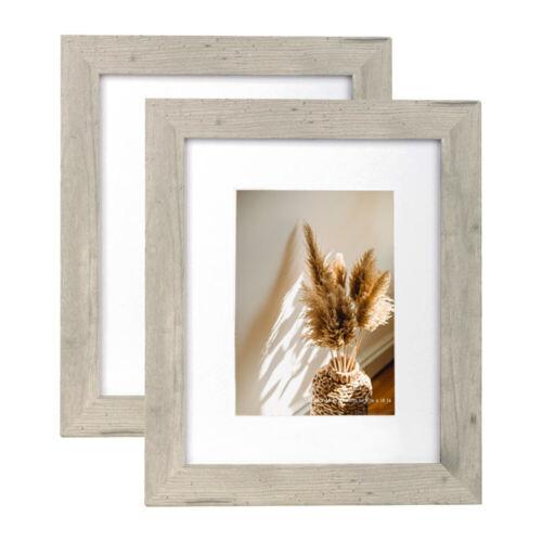 11x14 Wood Poster Picture Frame w/ White Mat 8X10 Photo Frames 2Pcs Wall Decor