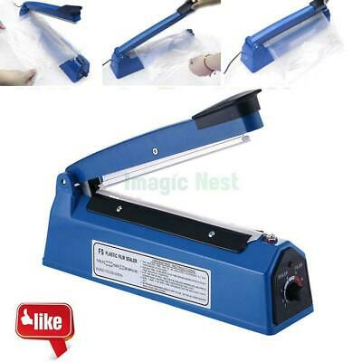 8 12 Impulse Heat Poly Bag Sealer Teflon Sealing Wrap Plastic Closer Machine