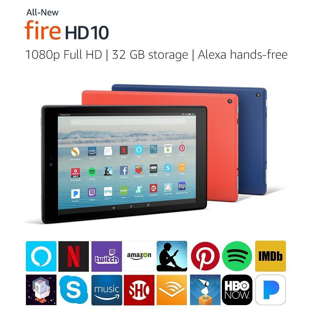 "All-New Amazon Fire HD 10 Tablet w/ Alexa 10.1"" Display 7th Generation 2017"