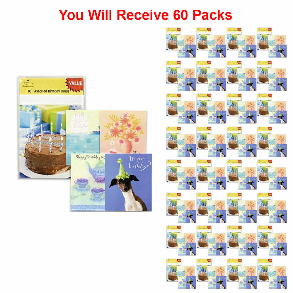 Details About 60 Pack Hallmark Assorted Happy Birthday Card Greeting Gift Wish Party New