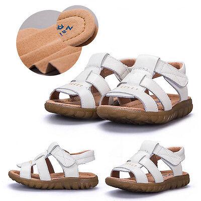 e Kinder Weiche Ledersandalen Jungen Wohnungen Strand Schuhe (Beliebte Jungen)