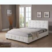 BRAND NEW Modern Black and White PU leather BED FRAME - TOMMY St Kilda Port Phillip Preview