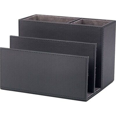 Staples All In One Desk Organizer Faux Leather Black 1234091