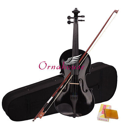 New 4/4 Black Acoustic Violin + Case+ Bow + Rosin on Rummage