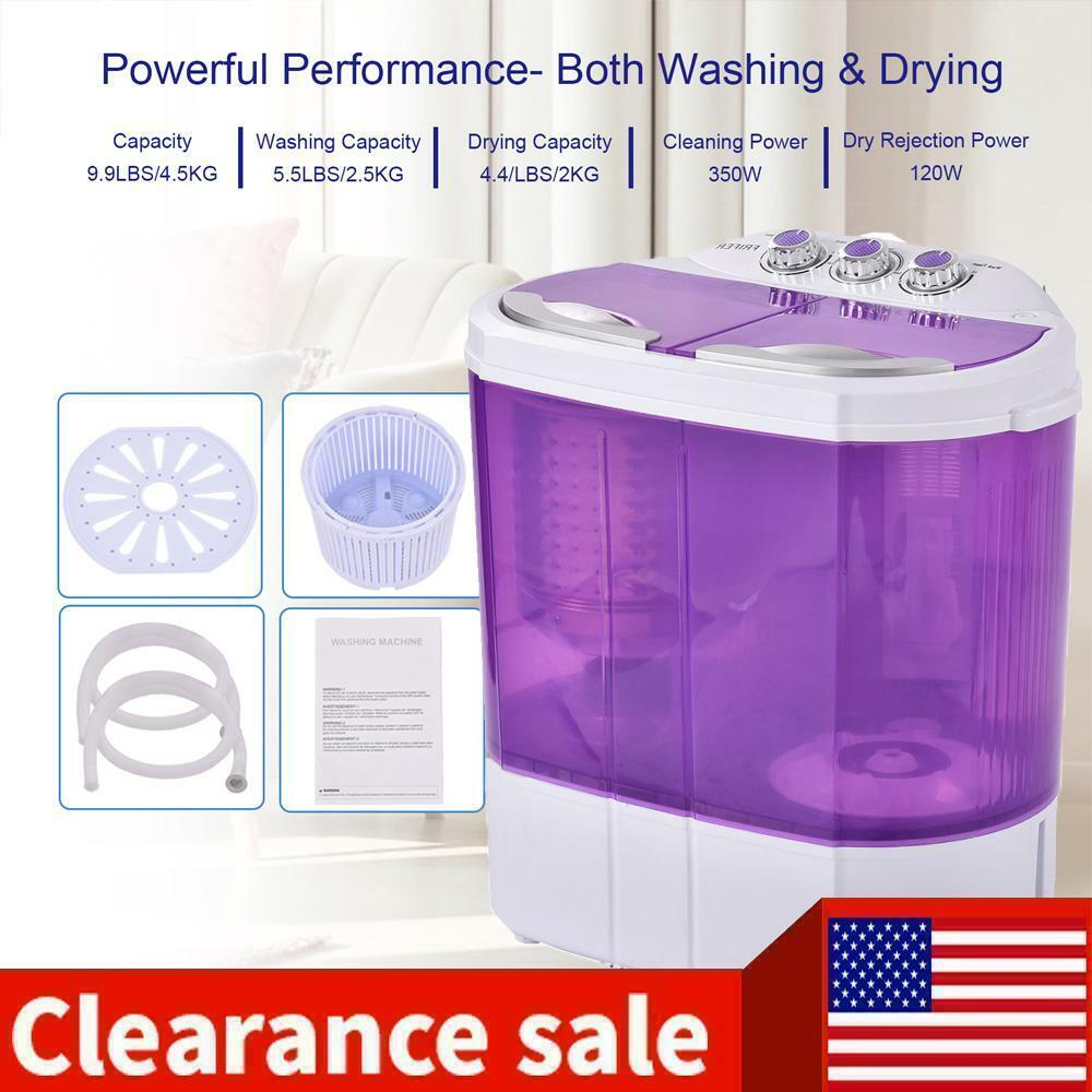 Portable Mini Washing Machine Washer Compact Twin Tub 9.9lbs