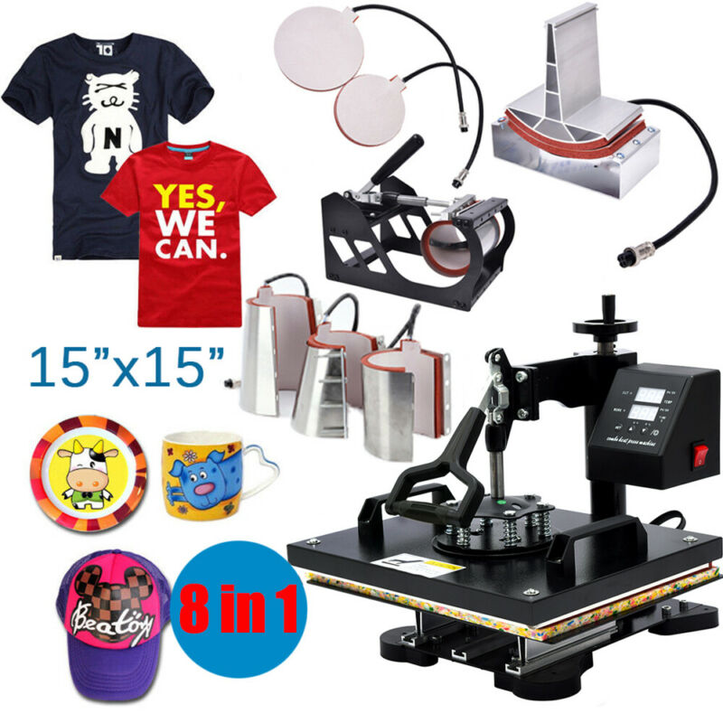 """15""""x15"""" 8 in 1 Heat Press Machines For T-Shirts Combo Kit Sublimation Swing-Away"""