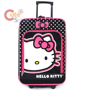 Hello-Kitty-20-Luggage-Canvas-Hard-Suit-Case-Pink-Black-Trolley-Rolling-Bag