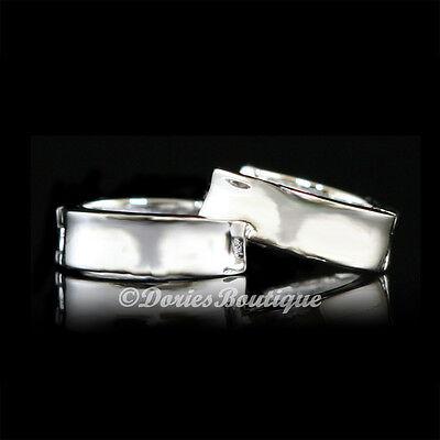 Simple Clean 925 Sterling Silver Huggie Earring .925 Fine Jewelry